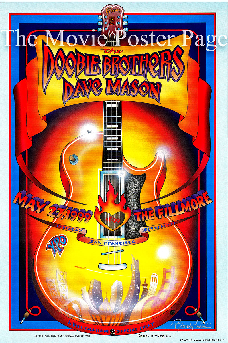 This is an original Doobie Brothers concert poster promoting an appearance in May of 1999 at the Fillmore Auditorium in San Francisco.