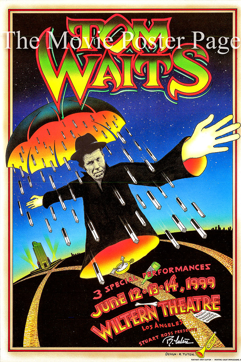 This is an original promotional poster designed by Randy Tuten for three concerts in June of 1999 by Tom Waits at the Wiltern Theatre in Los Angeles.