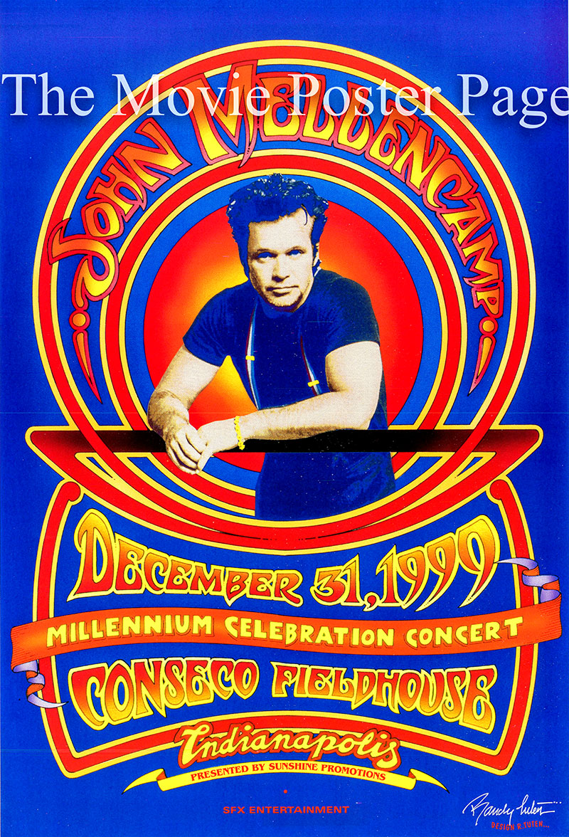 This is a poster for the John Mellencamp Millennium Celebration held on 31 December 1999 at the Conseco Fieldhouse in Indianapolis Indiana.