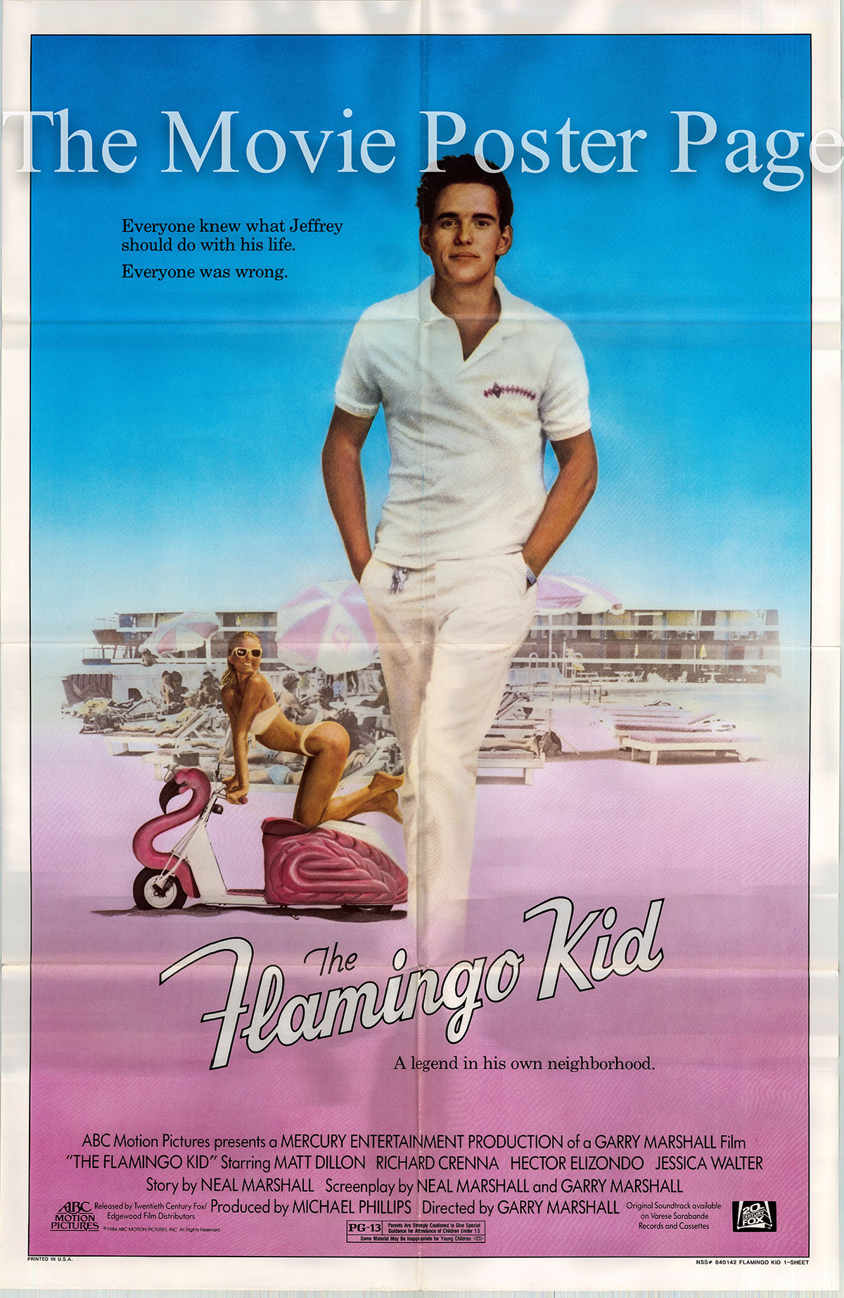 Pictured is a US one-sheet poster for the 1984 Garry Marshall film The Flamingo Kid starring Matt Dillon.