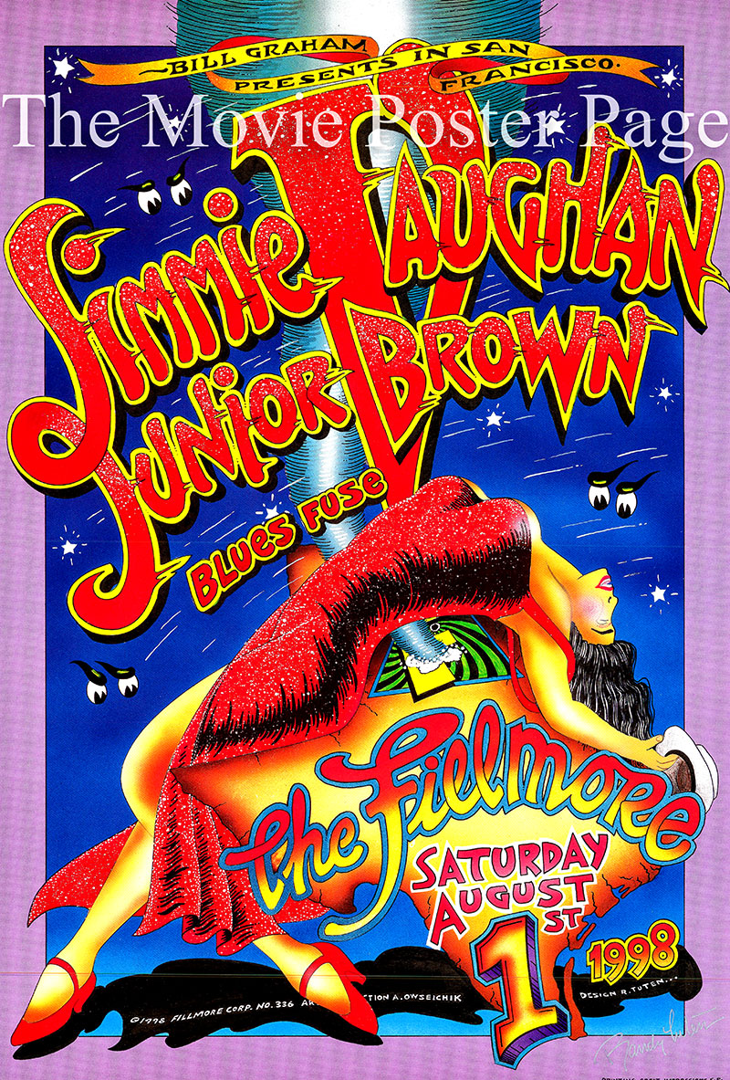 This is a Jimmie Vaughan and Junior Brown concert poster for an appearance at the Fillmore Auditorium on 1 August 1998.