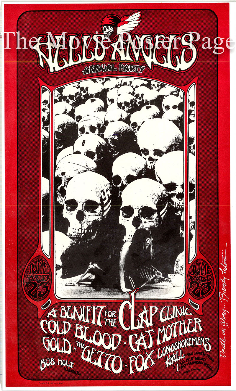 This is an original poster for a Hells Angels Clap Clinic benefit concert held in June 1971 at Longshoremen's Hall in San Francisco.