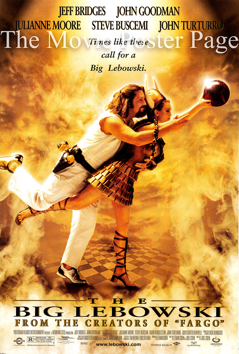 Pictured is a US double-sided one-sheet poster for the 1998 Cohen Brothers film The Big Lebowski starring Jeff Bridges as The Dude.
