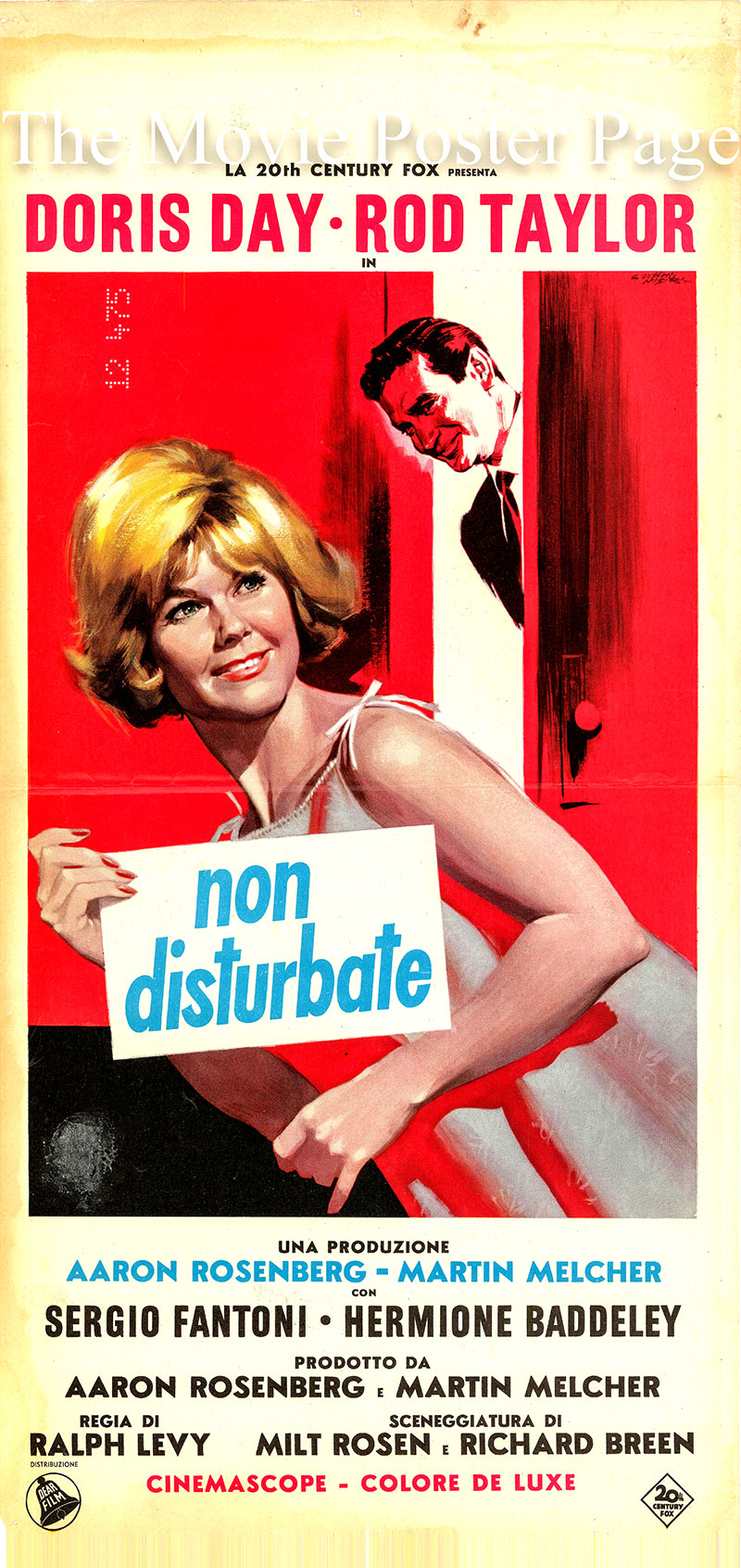 Pictured is an Italian locandina promotional poster for the 1965 Ralph Levy film Do Not Disturb starring Doris Day as Janet Harper.