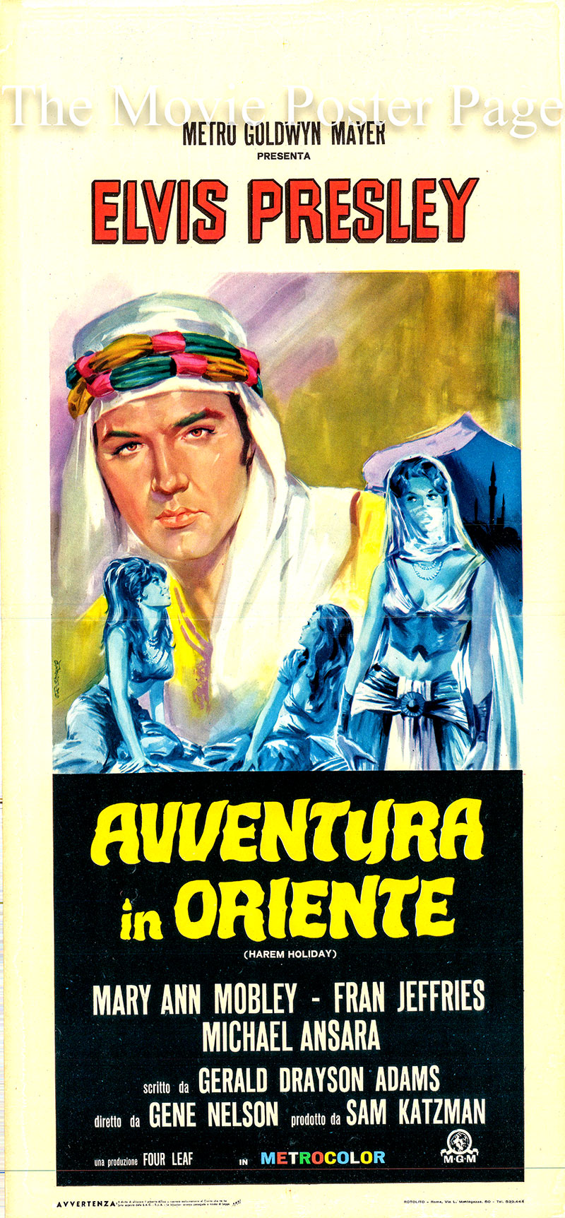 Pictured is an Italian locandina promotional poster for the 1965 Gene Nelson film Harem Holiday starring Elvis Presley as Johnny Tyronne.