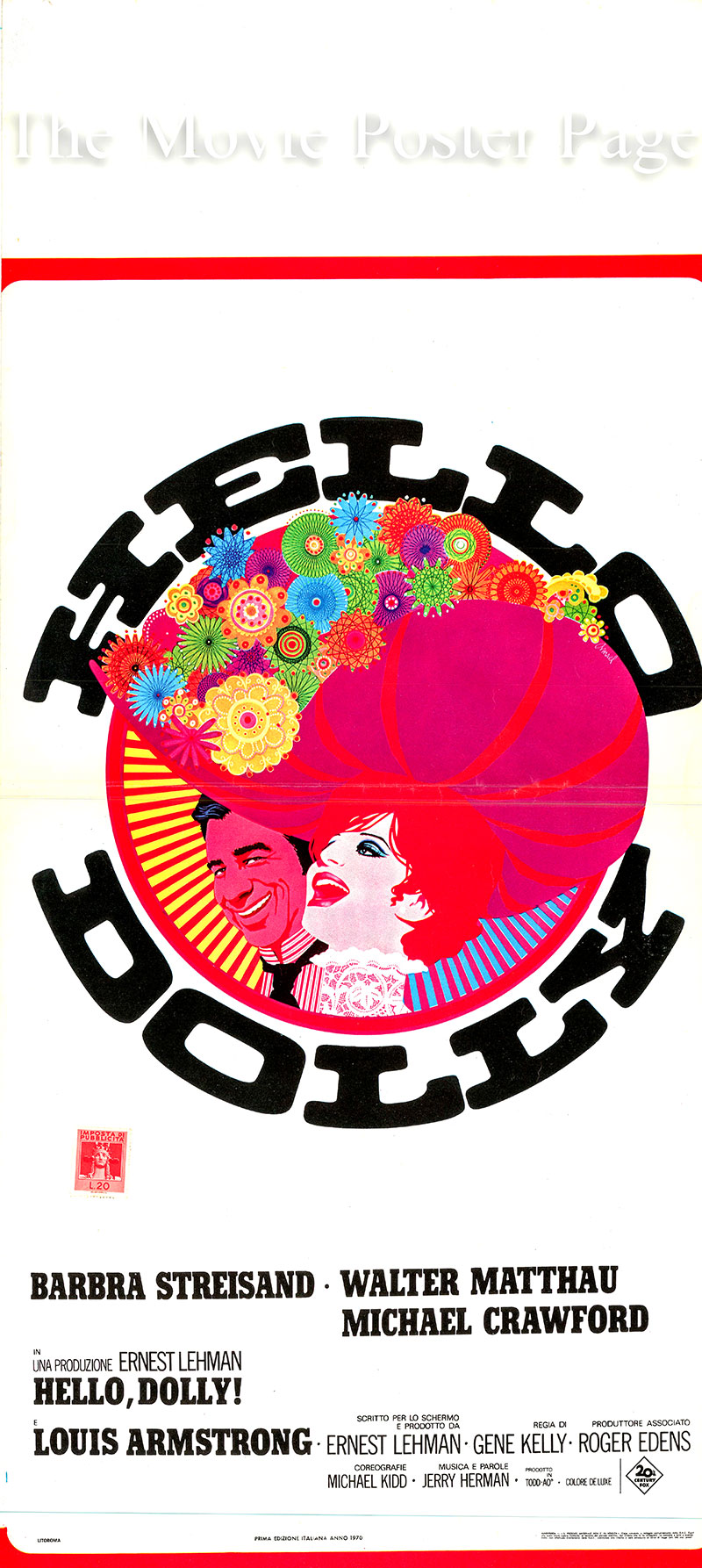 Pictured is an Italian locandina promotional poster for the 1969 Gene Kelly film Hello Dolly starring Barbra Streisand as Dolly Levi.