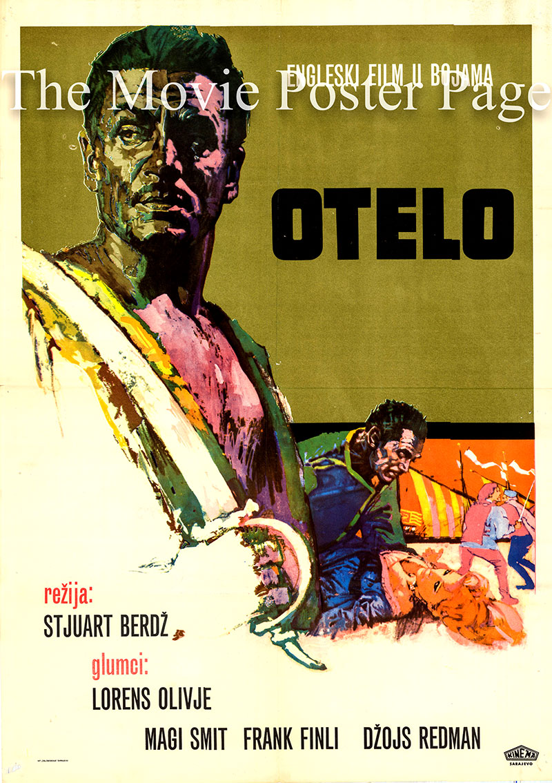 Pictured is a Yugoslavian promotional poster for the 1965 Stuart Burge film Othello starring Laurence Olivier as Othello.
