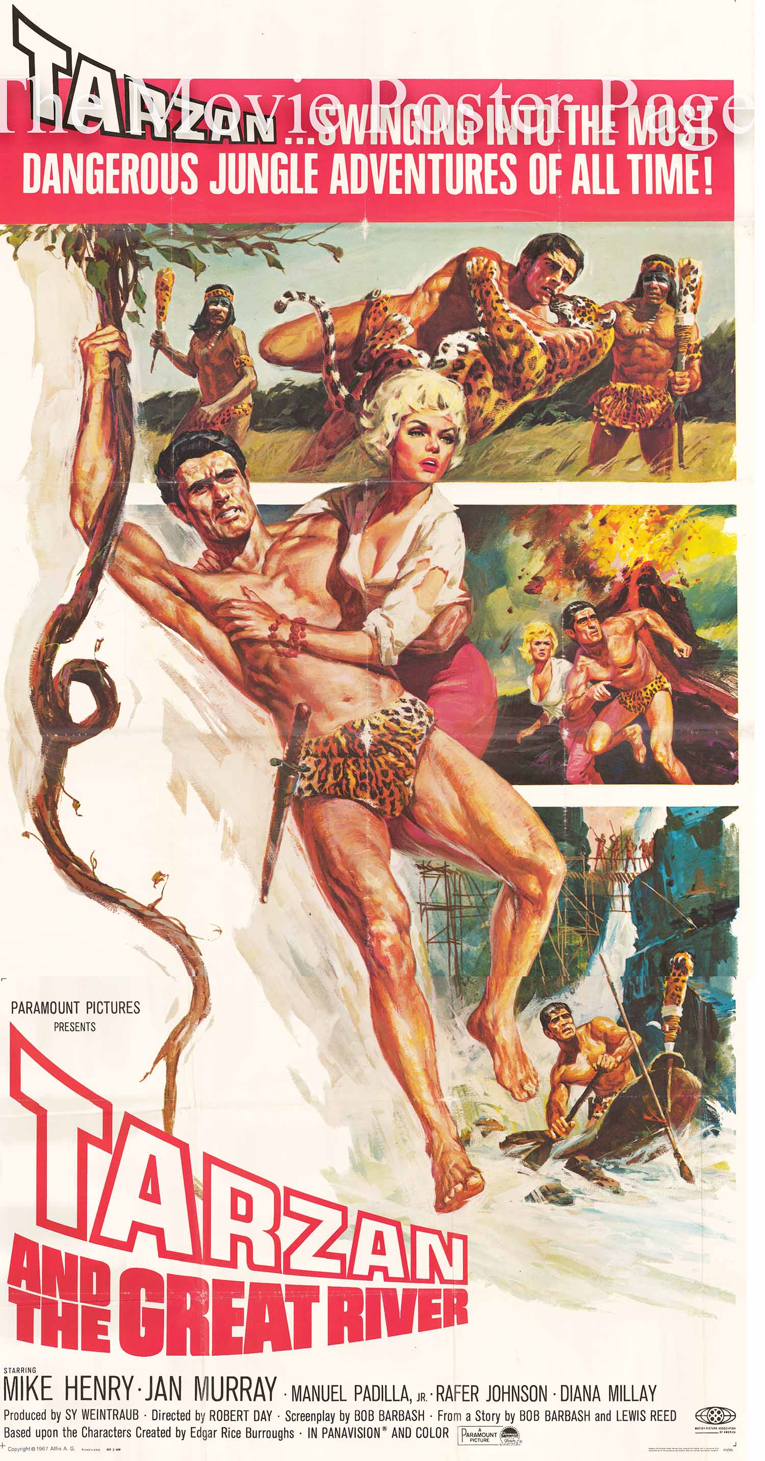 Pictured is a US three-sheet promotional poster for the 1967 Robert Day film Tarzan and the Great River starring Mike Henry.