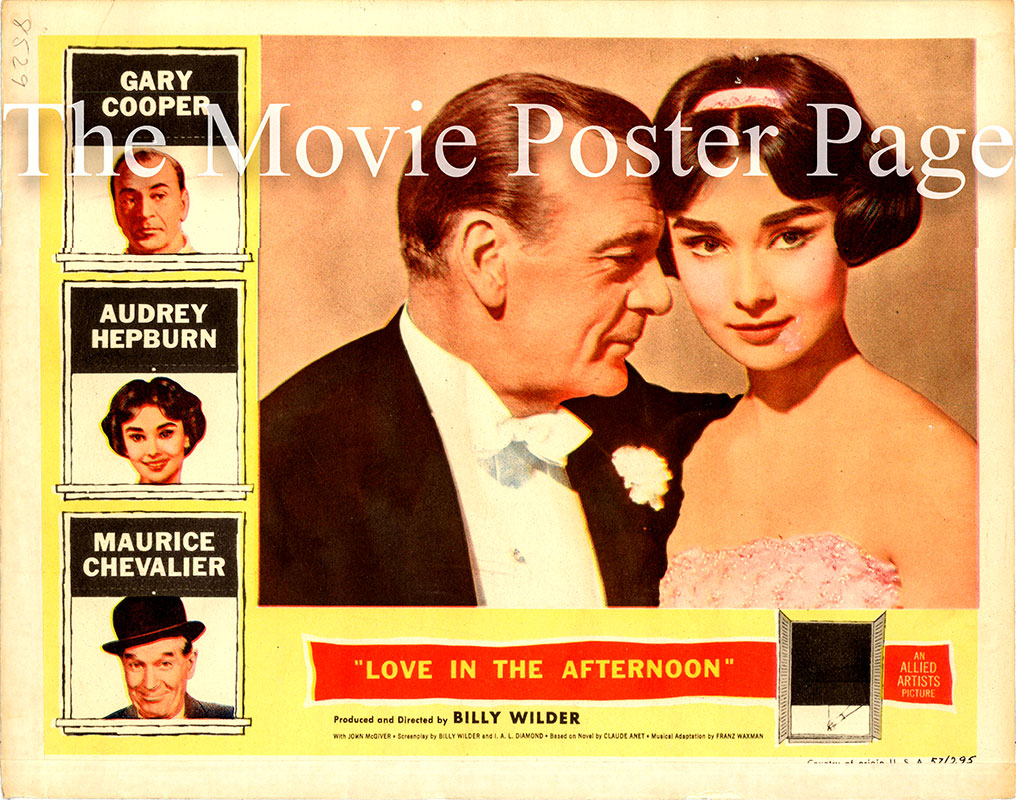 Pictured is a US lobby card for the 1957 Billy Wilder film Love in the Afternoon starring Audrey Hepburn as Ariane Chavasse.