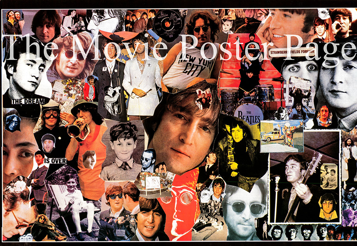 Pictured is a John Lennon memorial collage poster printed in Italy.