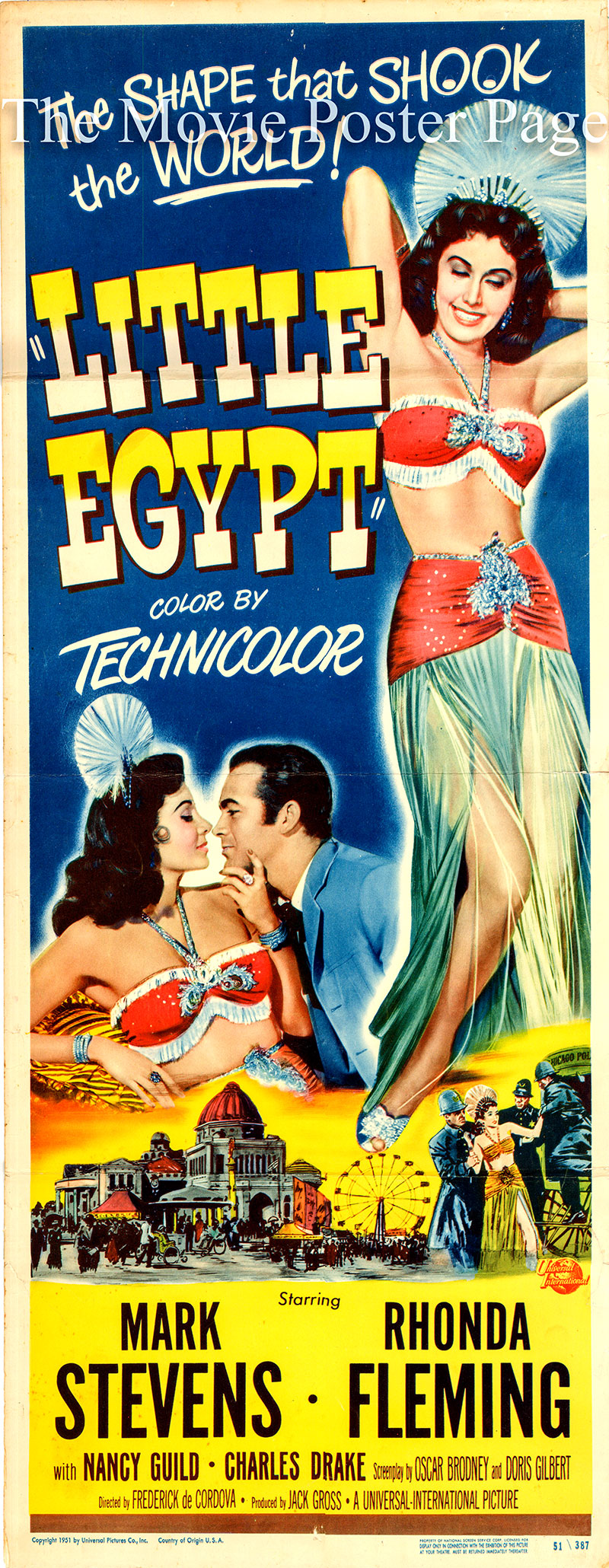 Pictured is a US promotional insert poster for the 1951 Frederick De Cordova film Little Egypt starring Rhonda Fleming as Izora.