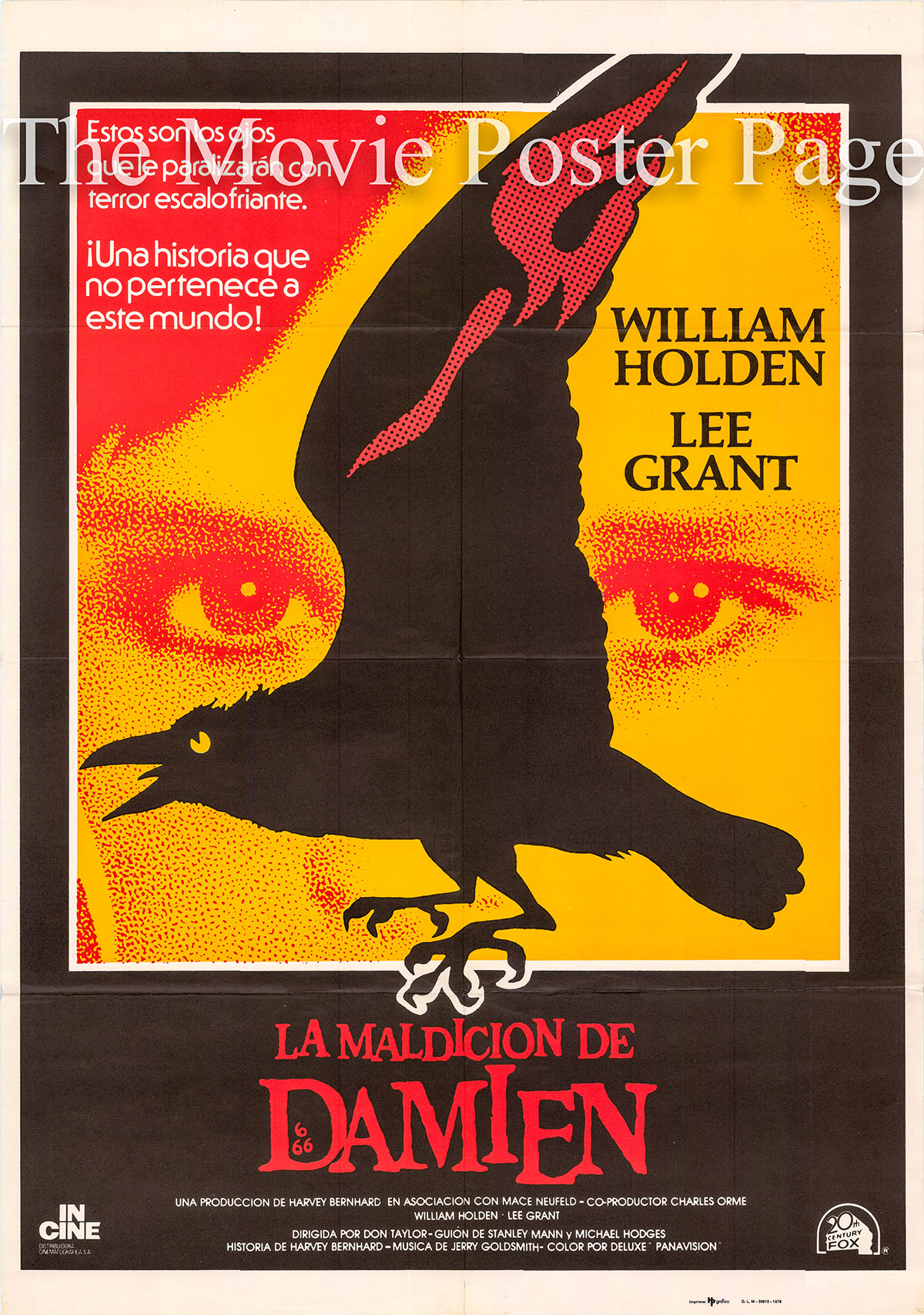 Pictured is a Spanish one-sheet poster for the 1978 Don Taylor film Damien: Omen II starring William Holden as Richard Thorn.