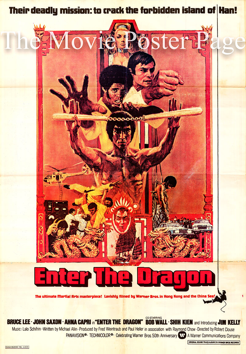 Pictured is a Lebanese poster for the 1973 Robert Clouse film Enter the Dragon starring Bruce Lee as Lee.