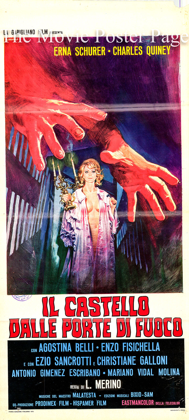 Pictured is an Italian locandina promotional poster for the 1970 Jose Luis Merino film Killers of the Castle of Blood starring Erna Schurer as Ivanna Rakowsky.