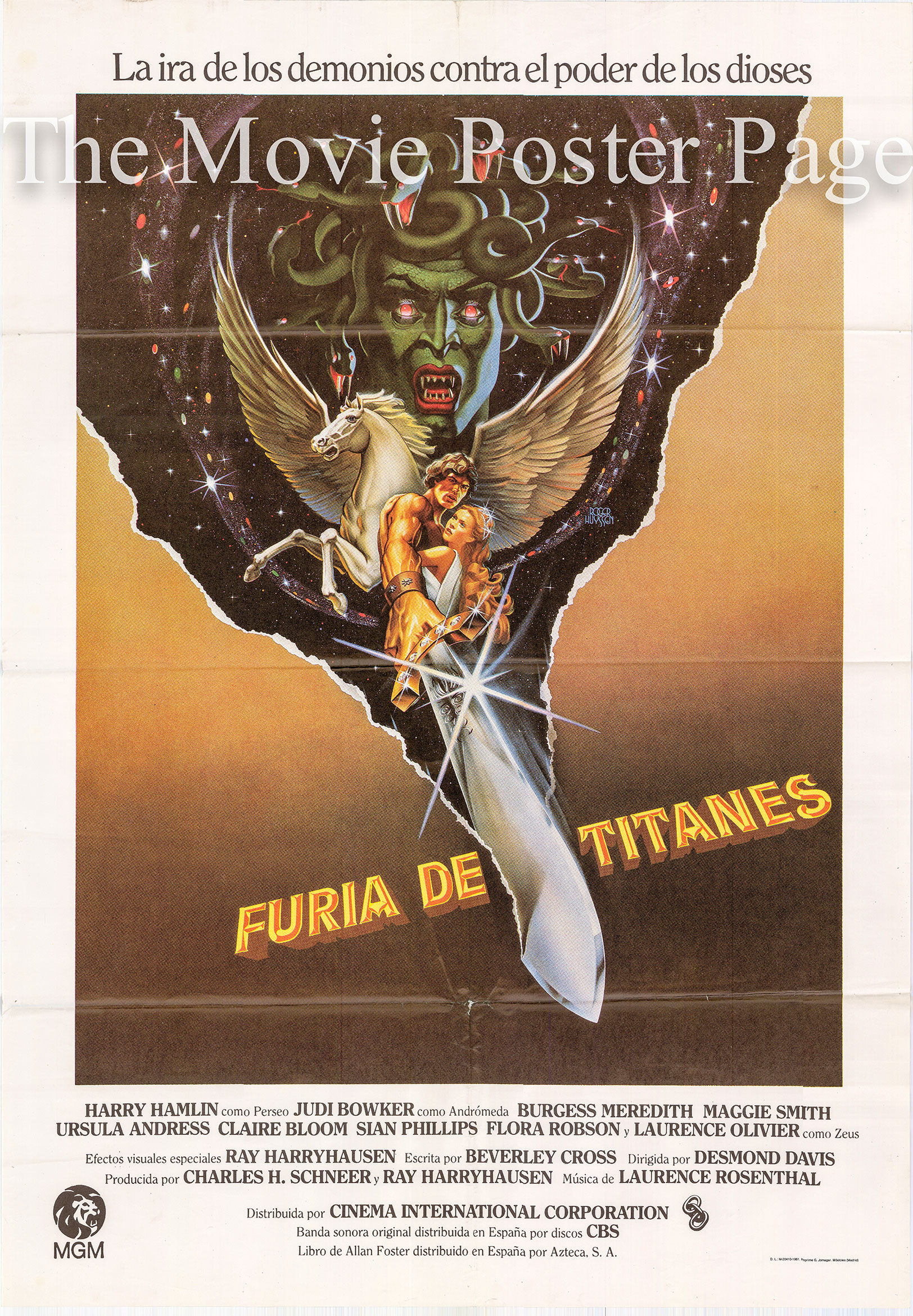 Pictured is a Spanish promotional poster for the 1981 Desmond Davis film Clash of the Titans starring Laurence Olivier.