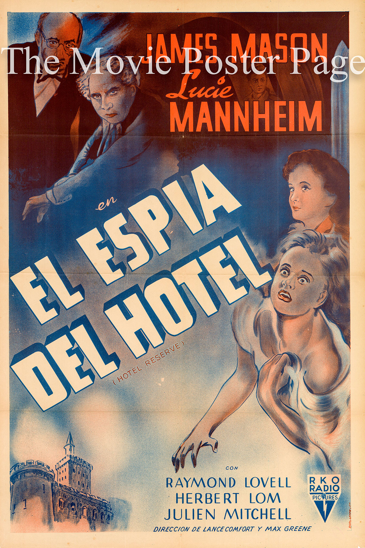Pictured is an Argentine one-sheet poster for the 1944 Lance Comfort and Mutz Greenbaum film Hotel Reserve starring James Mason.