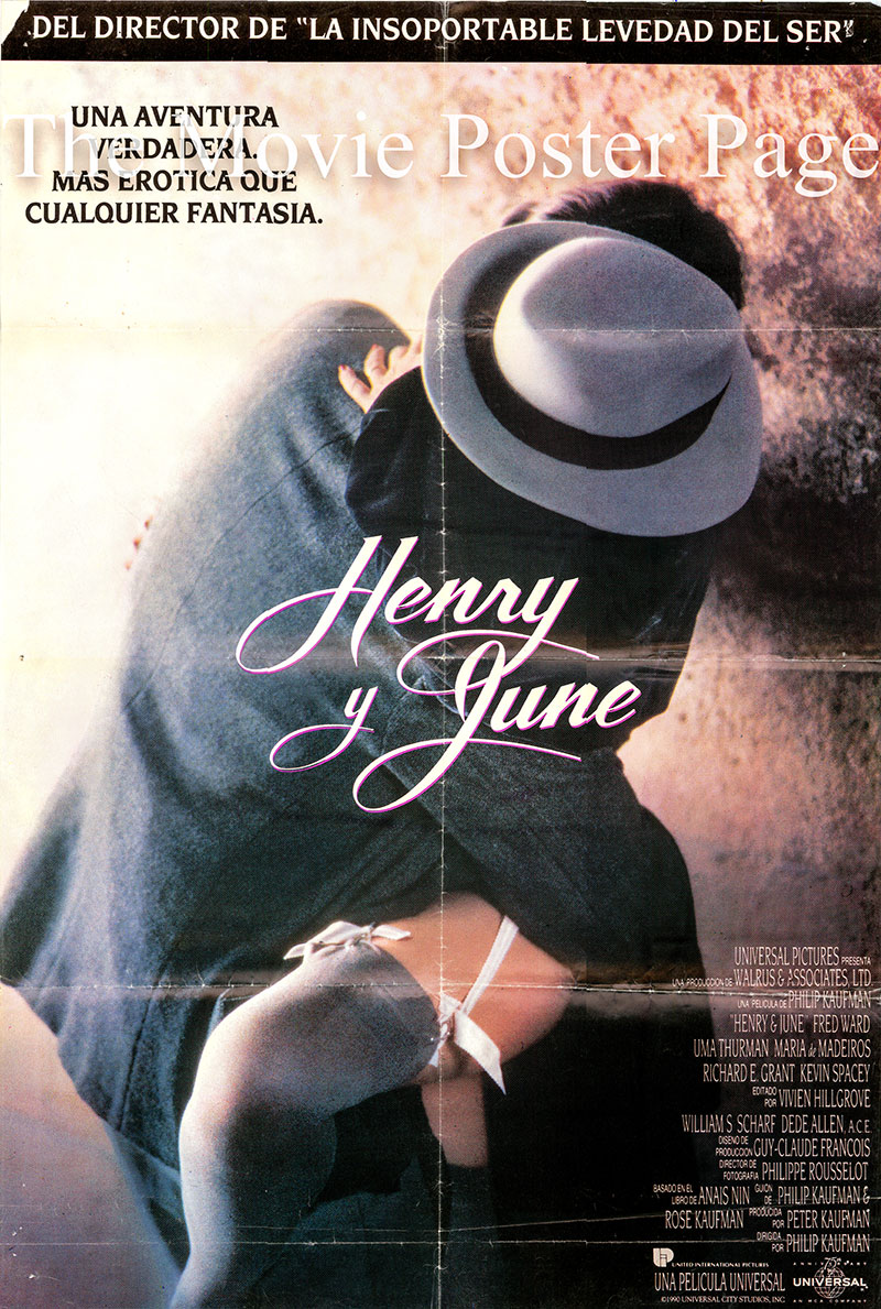 Pictured is a Spanish one-sheet poster for the 1990 Philip Kaufman film Henry & June starring Fred Ward and Uma Thurman as Henry and June.