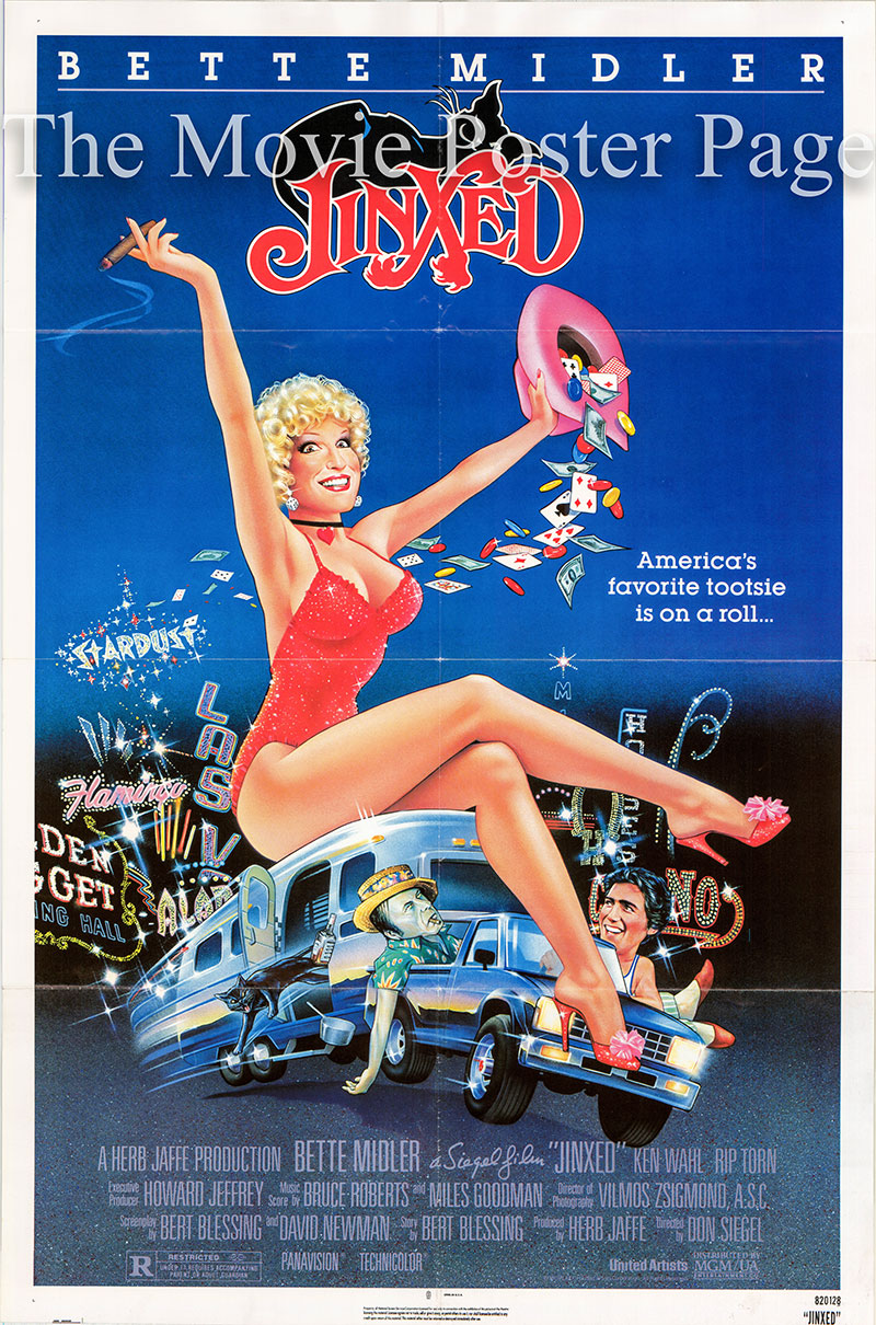 This is a US one-sheet poster for the 1983 Don Siegel film Jinxed starring Bette Midler.