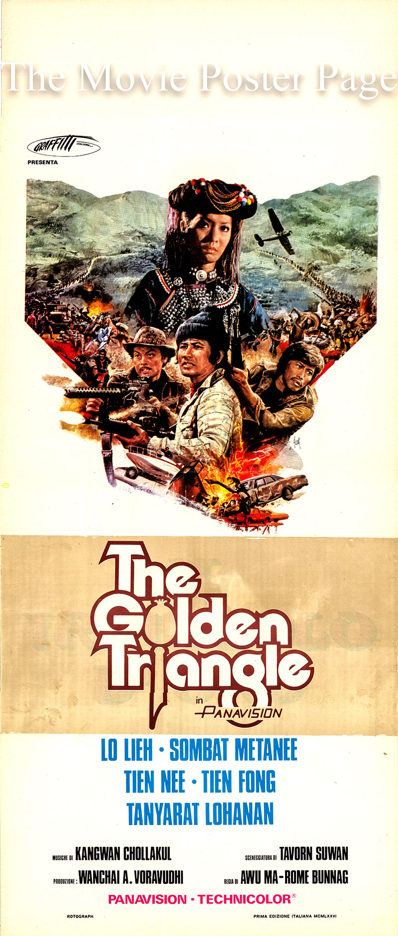 Pictured is an Italian promotional poster for the 1975 Rome Bunnag and Ma Wu film The Golden Triangle starring Lieh Lo.