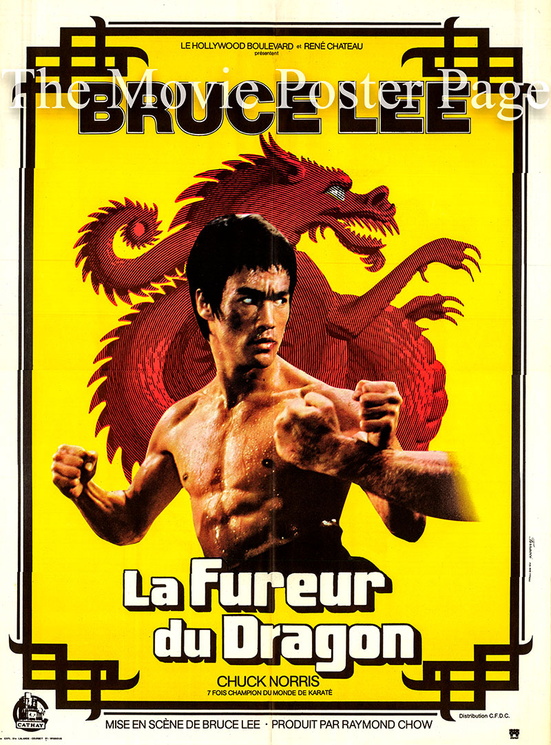 Pictured is a French poster for the 1972 Bruce Lee film The Way of the Dragon, starring Bruce Lee and Chuck Norris.