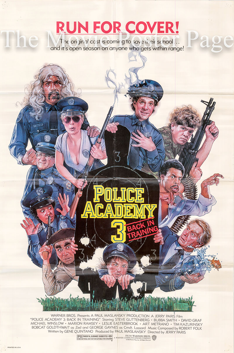 Pictured is a US promotional one-sheet poster for the 1986 Jerry Paris film Police Academy 3: Back in Training starring Steve Guttenberg.