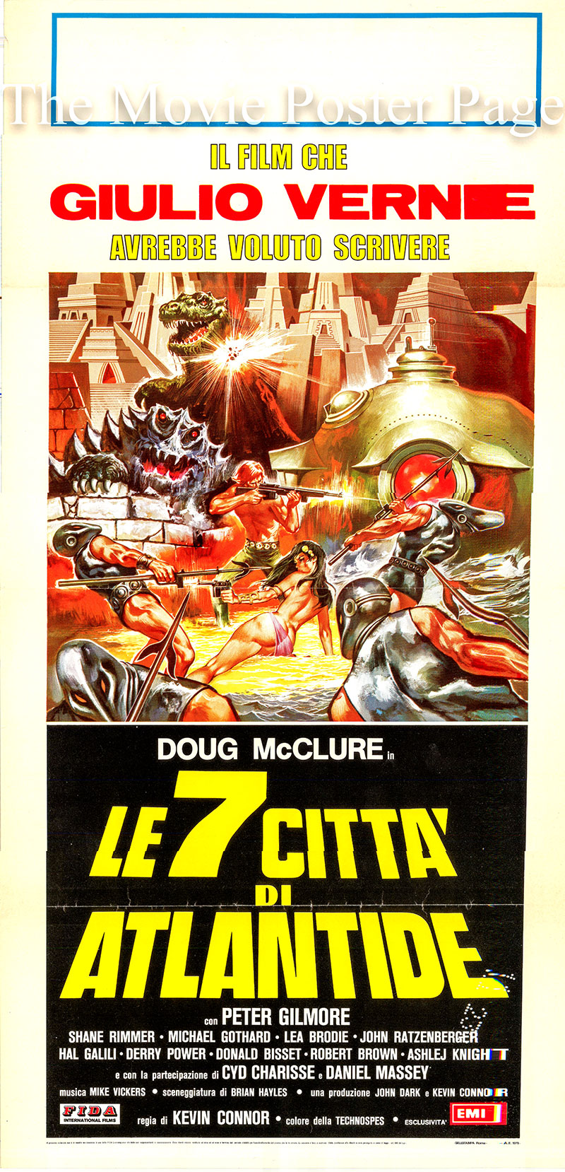 Pictured is an Italian locandina  poster for the 1978 Kevin Connor film The Seven Cities of Atlantis, starring Doug McClure.