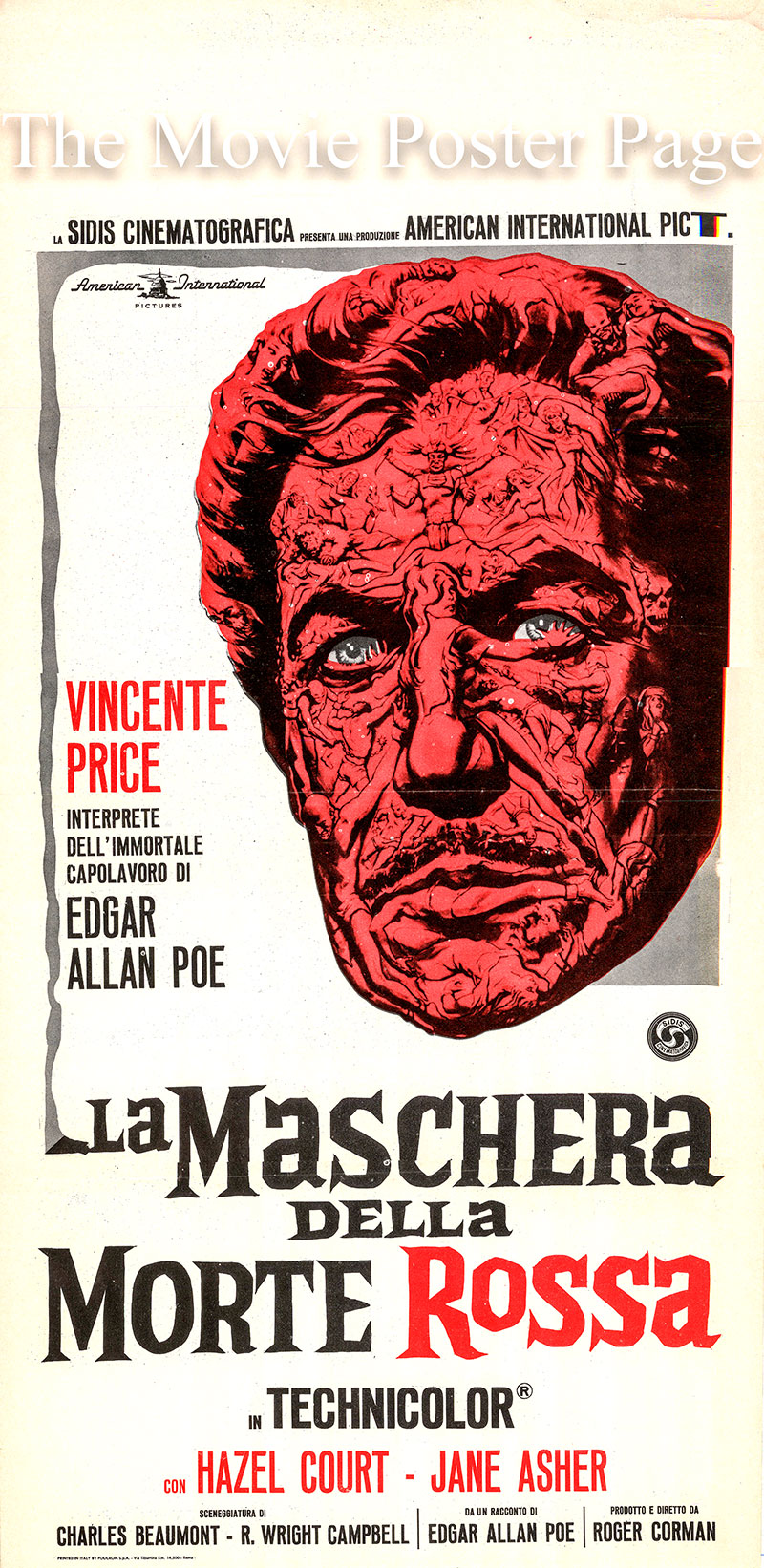 Pictured is a Italian locandina promotional poster for the 1964 Roger Corman film The Masque of the Red Death starring Vincent Price as Prince Prospero.