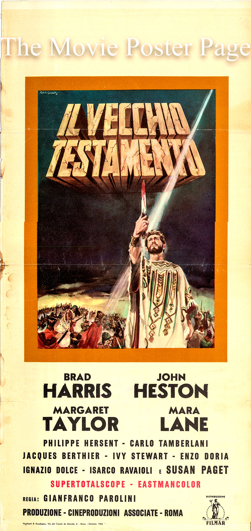 Pictured is an Italian locandina poster for a 1964 rerelease of the 1962 Gianfranco Parolini film The Old Testament starring Brad Harris as Simone.