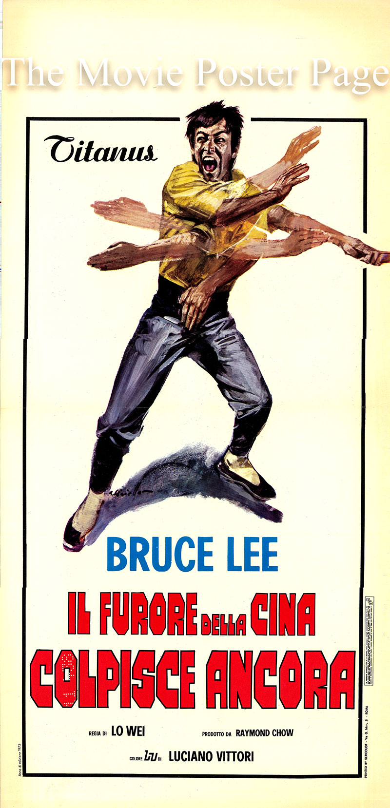 Pictured is an Italian locandina poster for a 1973 rerelease of the 1971 Wei Lo film The Big Boss, starring Bruce Lee as Cheng Chao-an.
