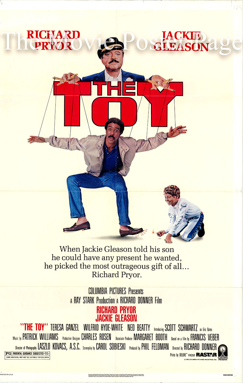Pictured is a US one-sheet promotional poster for the 1982 Richard Donner film The Toy starring Richard Pryor and Jackie Gleason.