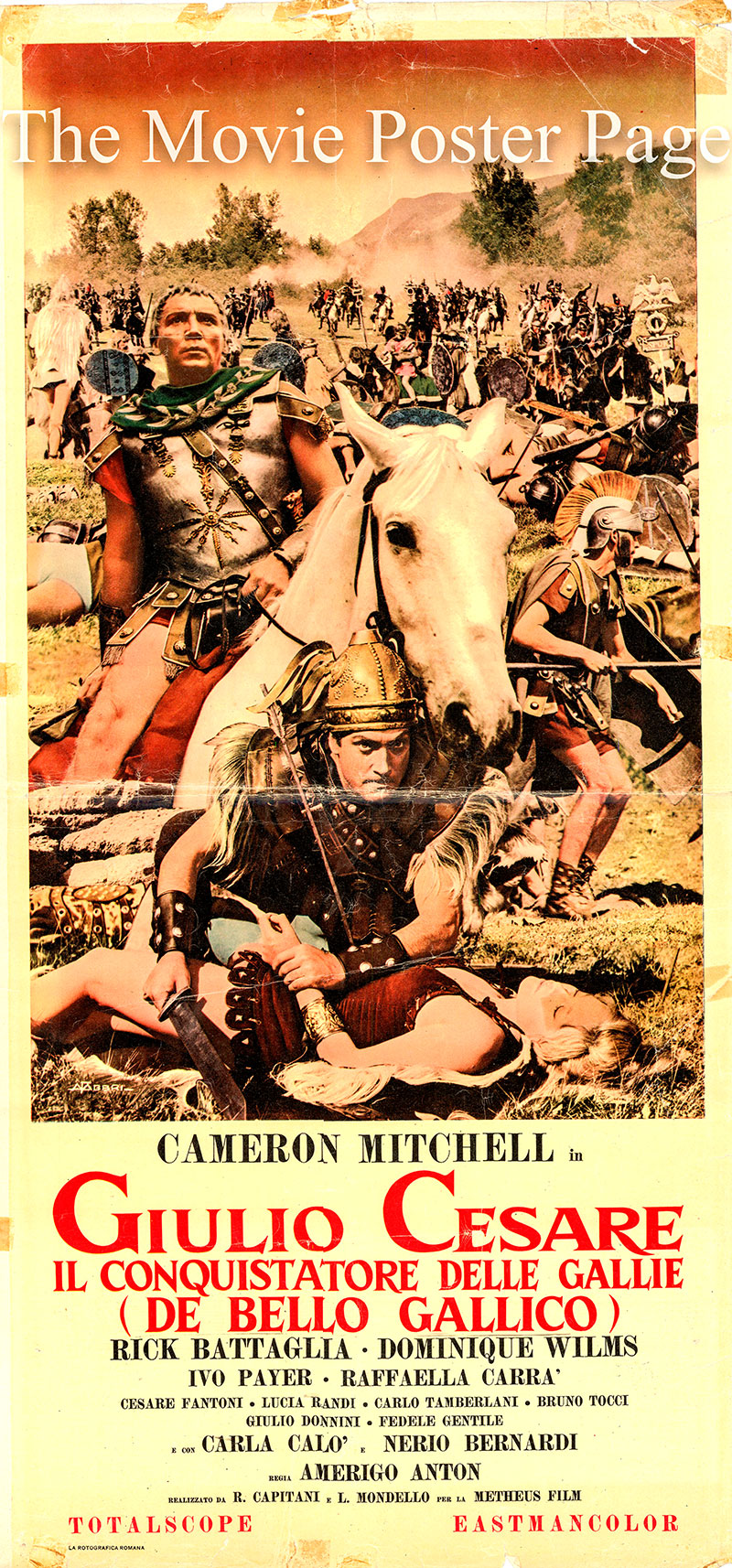 Pictured is an Italian locandina promotional poster for the 1962 Tanio Boccia film Caesar the Conqueror starring Cameron Mitchell as Caesar.
