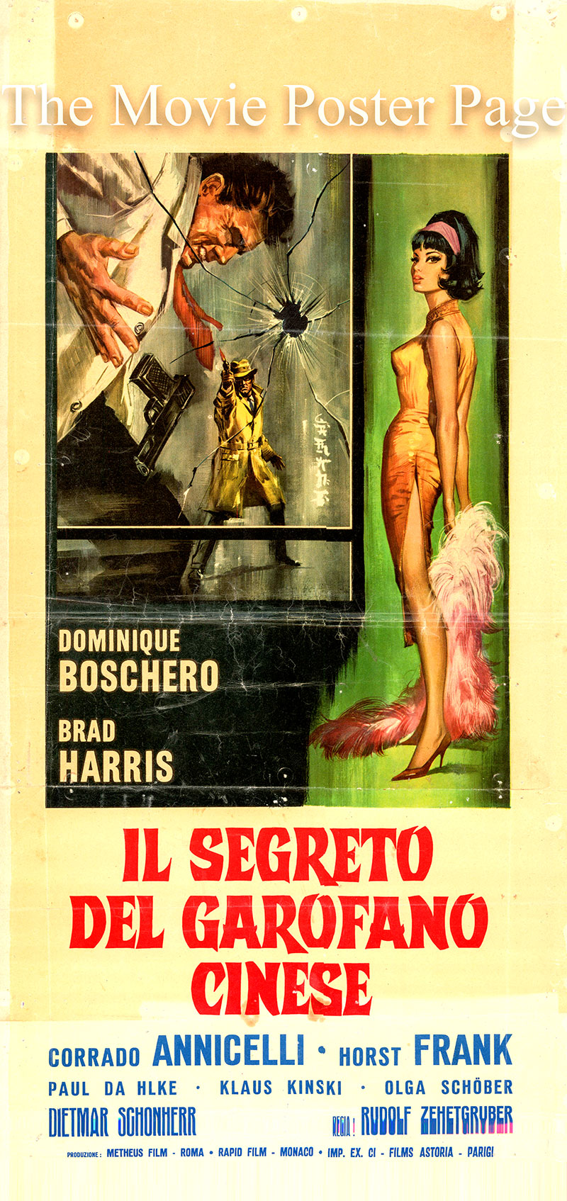 Pictured is an Italian locandina promotional poster for the 1964 Rudolf Zehetgruber film The Secret of the Chinese Carnation starring Brad Harris as Donald Ramsey.