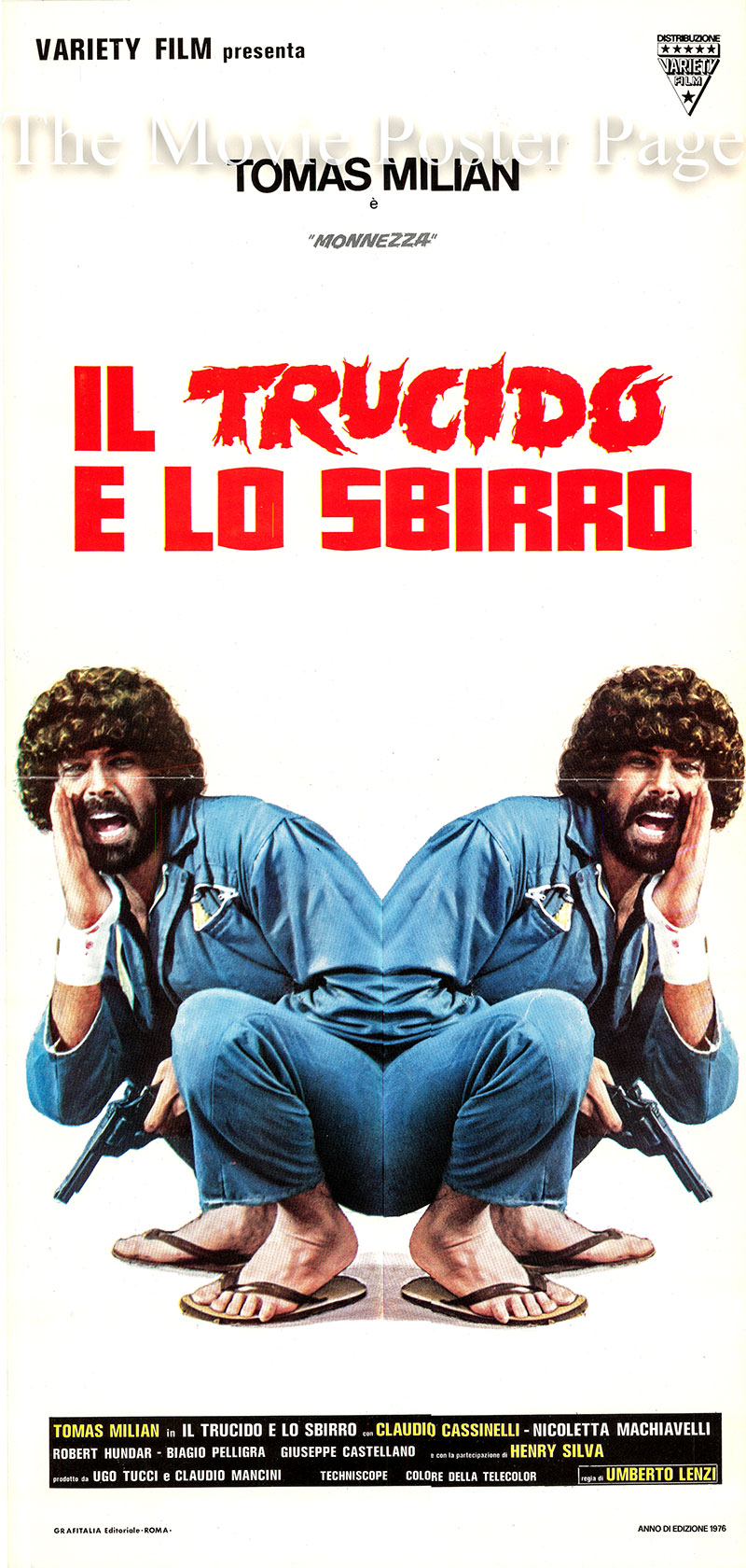 Pictured is an Italian locandina poster for the 1976 Umberto Lenzi film Free Hand for a Tough Cop starring Thomas Milan as Sergio Marazzi.