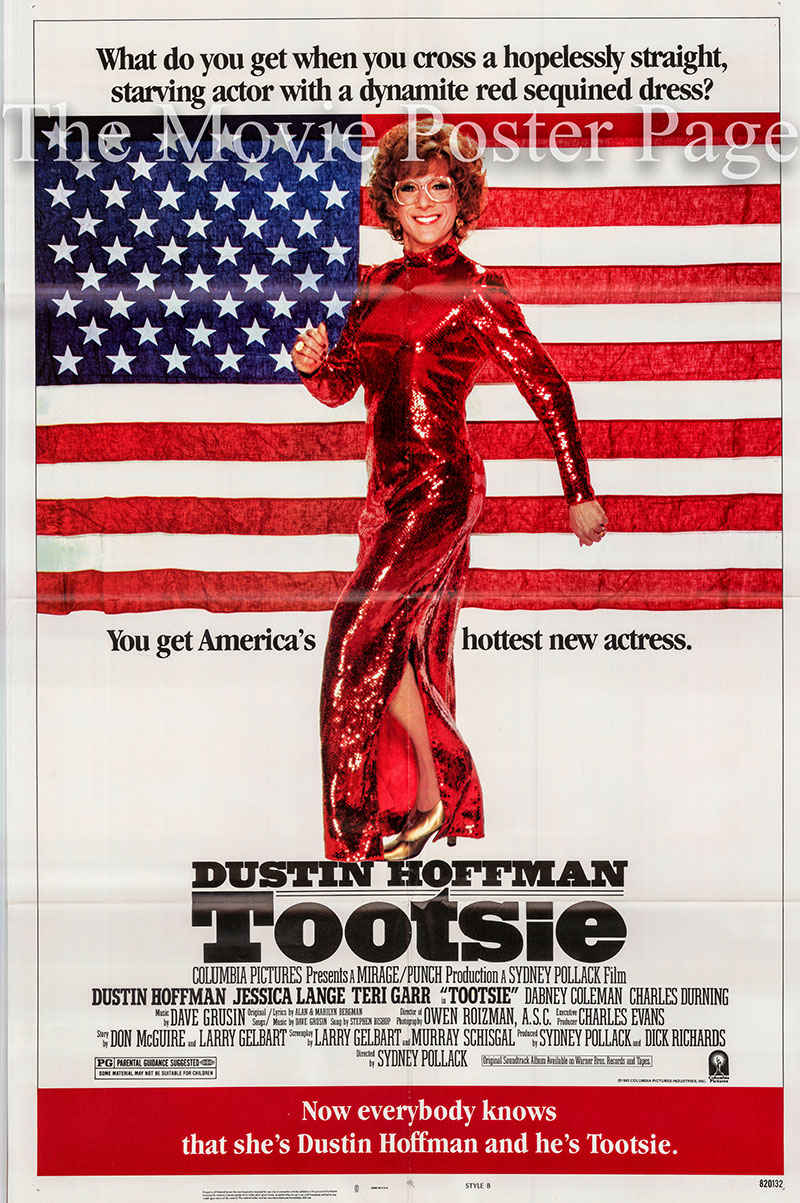 Pictured is a US one-sheet poster for the 1982 Sydney Pollack film Tootsie starring Dustin Hoffman as Tootsie.