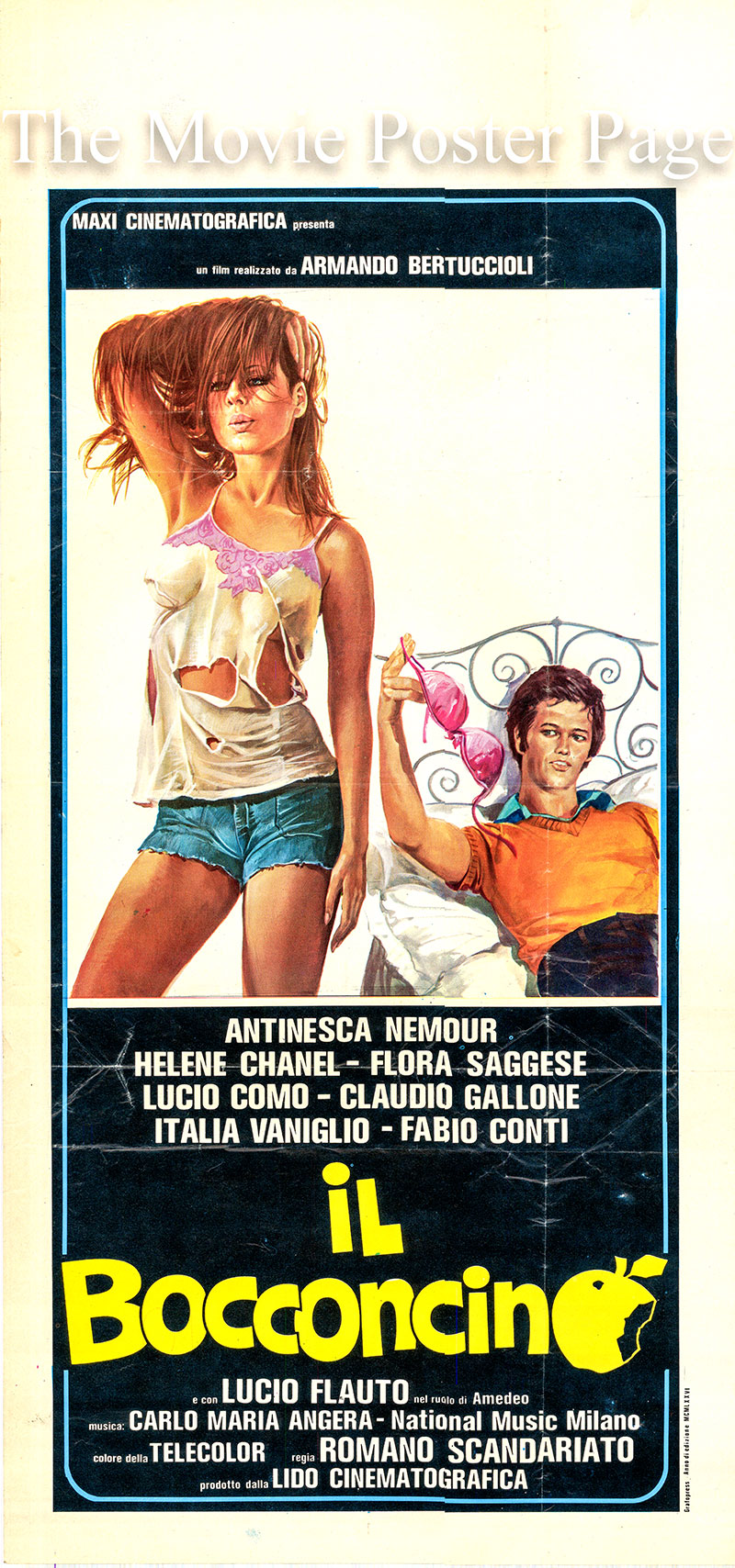 Pictured is an Italian locandina poster for the 1976 film The Titbit starring Claudio Gallone as Gigi.