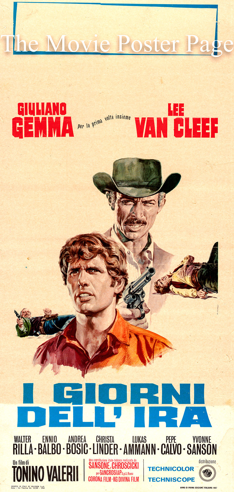 Pictured is an Italian locandina poster for the 1967 Tonino Valerii film A Day of Anger starring Giuliano Gemma as Scott Mary.