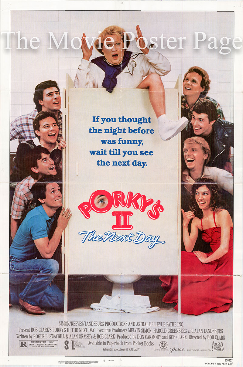 Pictured is a US one-sheet poster for the 1982 Bob Clark film Porky's II starring Dan Monahan.