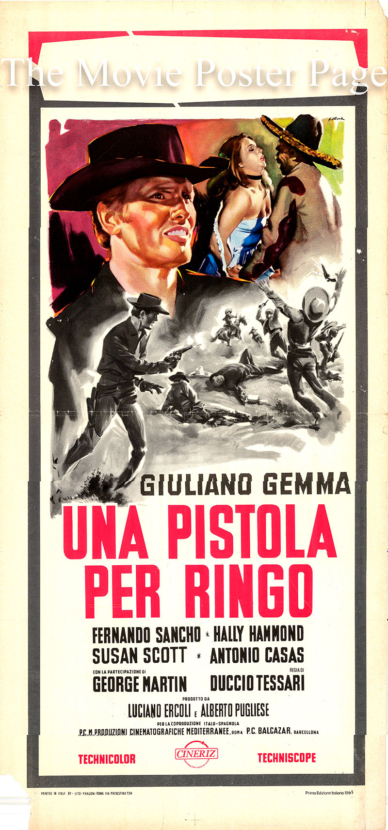 Pictured is an Italian promotional poster for the 1965 Duccio Tessari film A Pistol for Ringo starring Giuliano Gemma as Ringo.