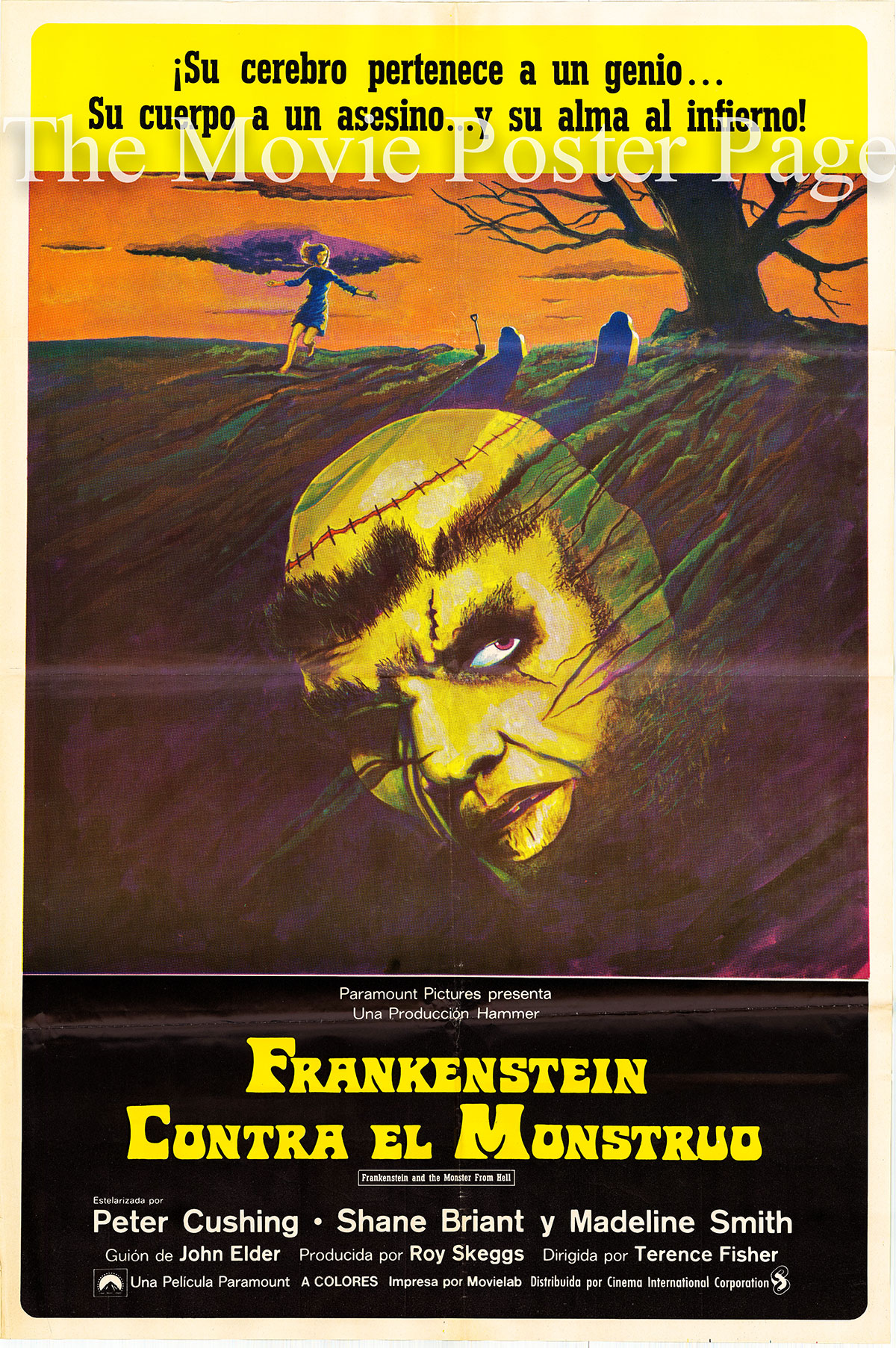 Pictured is a Spanish one-sheet poster for the 1974 Terence Fisher film Frankenstein and the Monster from Hell starring Peter Cushing as Baron Frankenstein.