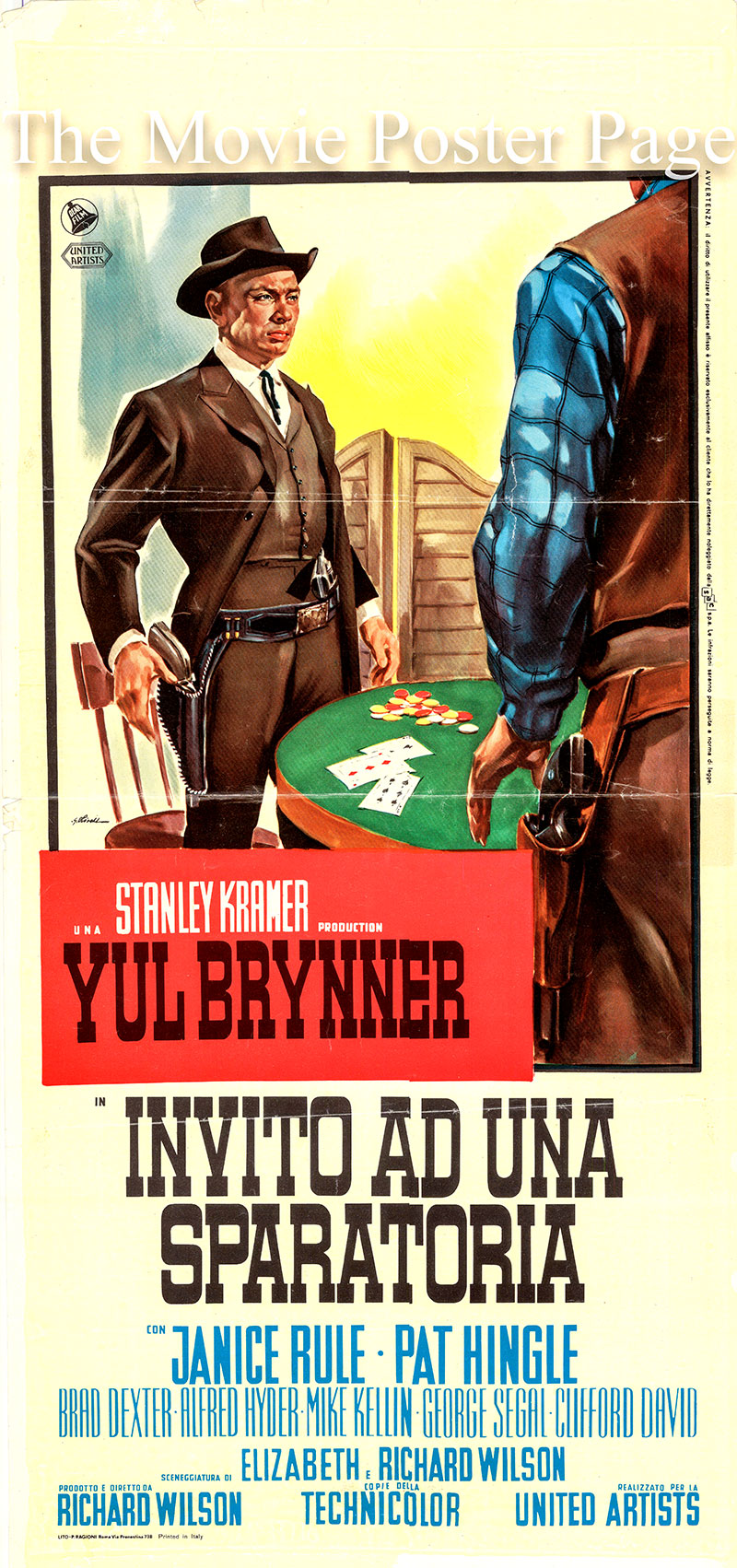Pictured is an Italian locandina poster for the 1964 George Wilson film Invitation to a Gunfighter starring Yul Brynner.