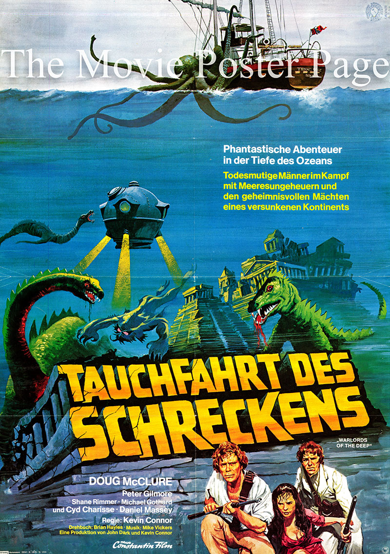 Pictured is an German one-sheet  poster for the 1978 Kevin Connor film The Seven Cities of Atlantis, starring Doug McClure as Greg Collinson.