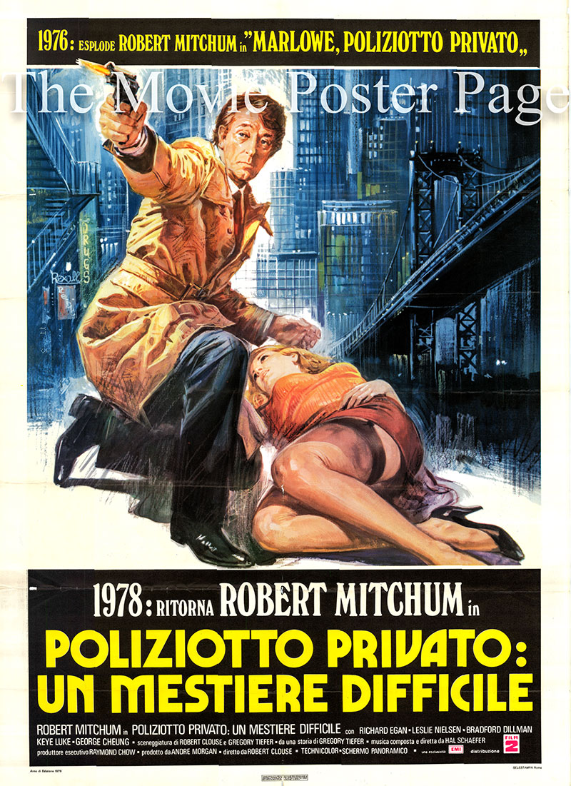 Pictured is an Italian two-sheet promotional poster for the 1977 Robert Clouse film The Amsterdam Kill starring Robert Mitchum as Larry Quinlan.