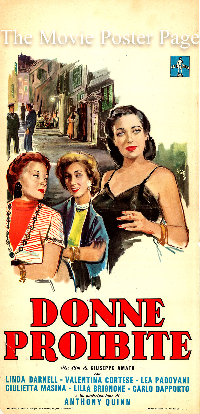 Pictured is an Italian locandina poster for the 1954 Giuseppe Amato film Angels of Darkness starring Linda Darnell as Lola Baldi.