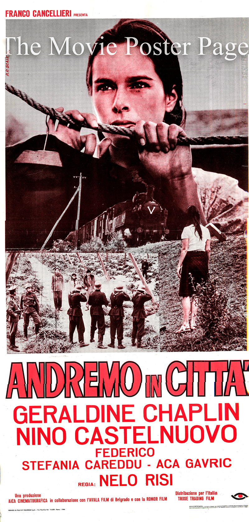 Pictured is an Italian locandina poster for the 1967 Nelo Risi film Andremo in città starring Geraldine Chaplin as Lenka.