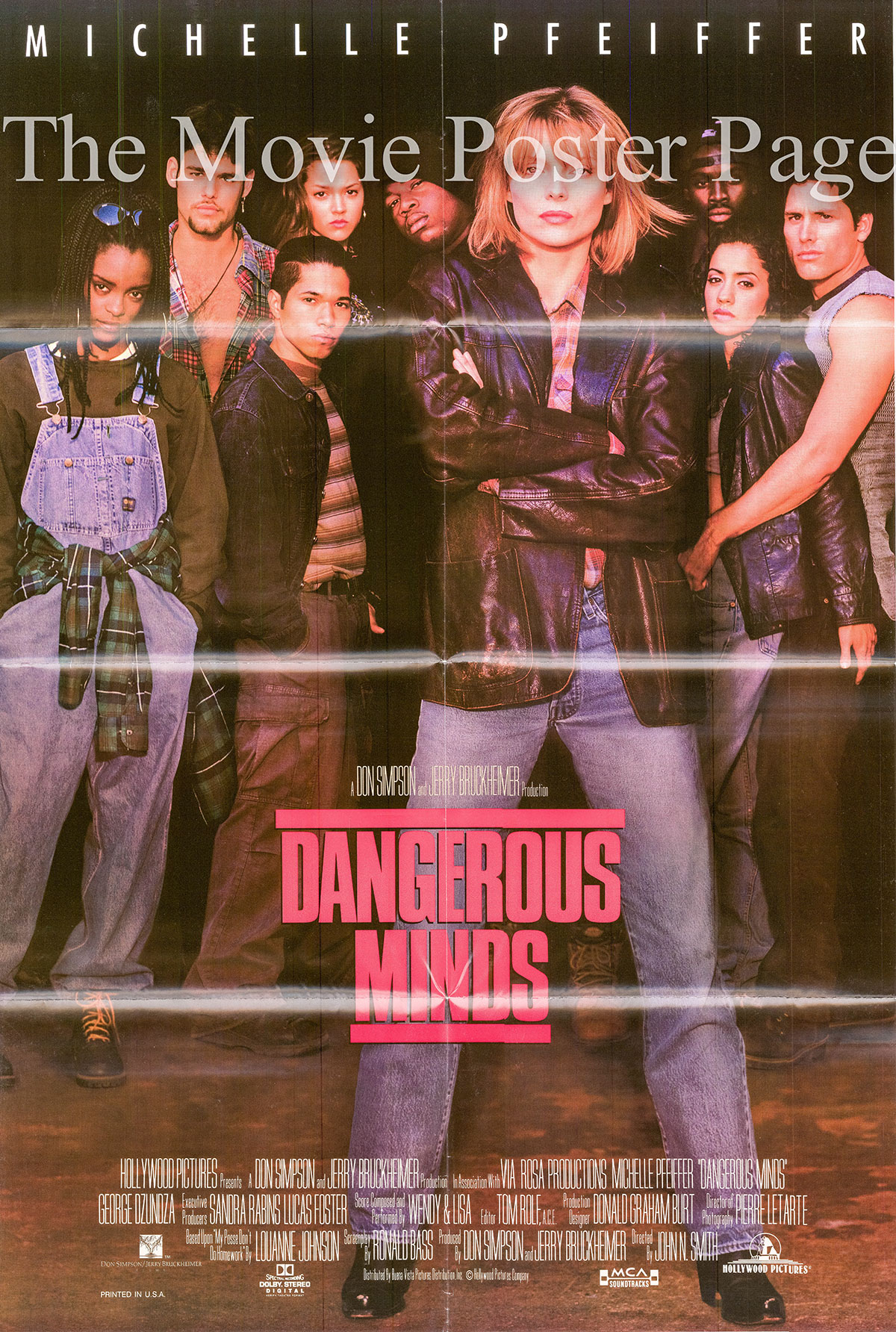 Pictured is a US one-sheet poster for the 1995 John N. Smith film Dangerous Minds starring Michelle Pfeiffer.