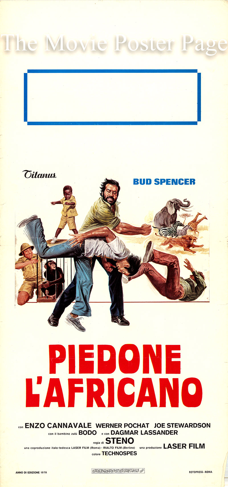 Pictured is an Italian locandina poster for the 1978 Steno film Flatfoot in Africa starring Bud Spencer as Commissario Rizzo 'Piedone'.
