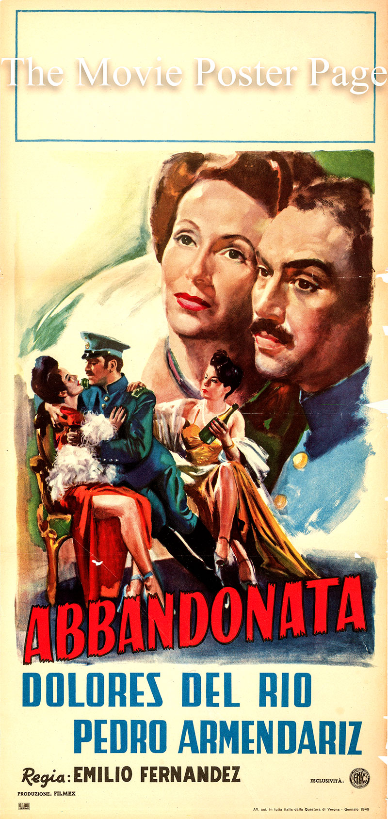 Pictured is an Italian locandina poster for the 1945 Emilio Fernández film The Abandoned starring Dolores del Rio as Margarita Pérez.