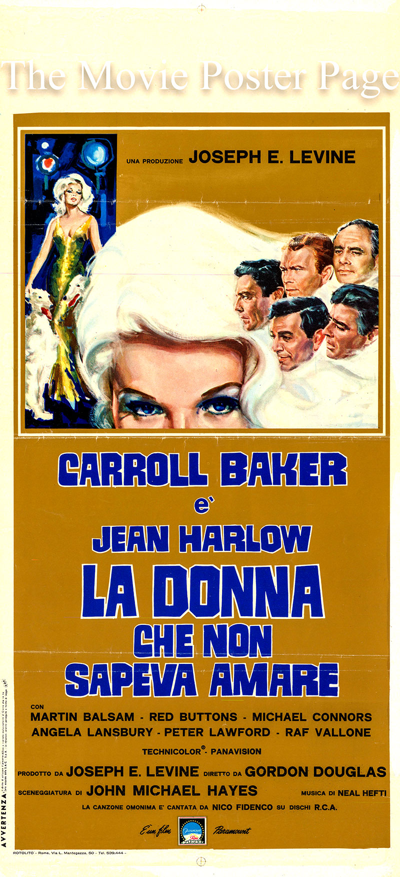 Pictured is an Italian locandina poster for the 1965 Gordon Douglas film Harlow starring Carroll Baker as Jean Harlow.
