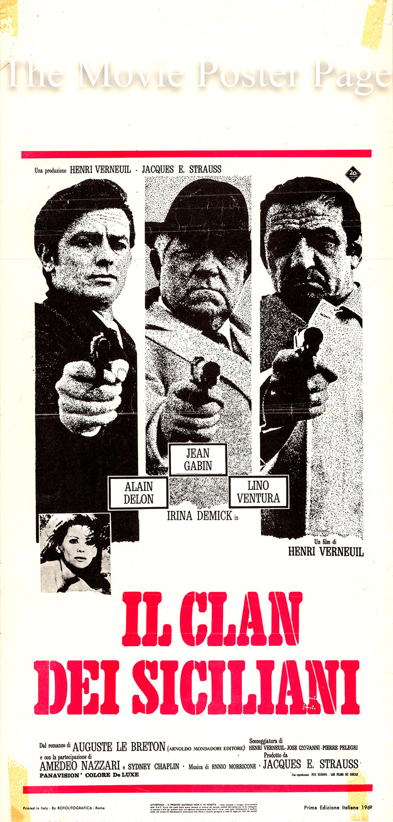 Pictured is an Italian locandina poster for the 1969 film The Sicilian Clan starring Alain Delon as Roger Sartet.