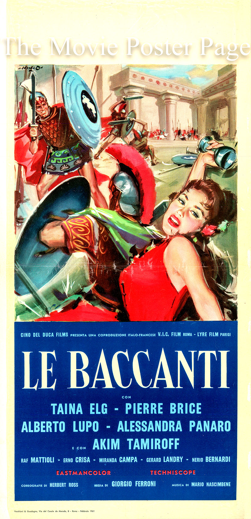 Pictured is an Italian locandina poster for the 1961 Giorgio Ferroni film Bondage Gladiator Sexy starring Taina Elg as Dirce.